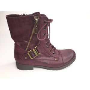 G by Guess Combat Boots - maroon - size 7